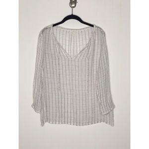 EILEEN FISHER PETITE Gray and White Linen Top